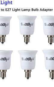 youoklight® 6pcs E14 til E27 lys lampe pære adapter converter - sølv + hvit