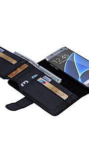 casi in pelle walletr colore solido dell'unità di elaborazione con slot di 7 carte per Galaxy S7 / s7 bordo