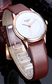 Masculino / Mulheres / Casal Relógio de Moda Quartz Couro Banda Prata / Dourada marca-