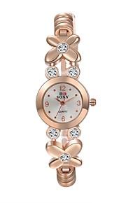 Dames Modieus horloge Kwarts Roestvrij staal Band Bloem / armband Goud