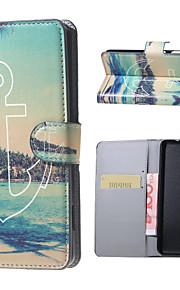 anclar el caso del soporte del tirón del cuero de la carpeta del patrón de vista de la playa con la ranura para tarjeta para el lumia 650