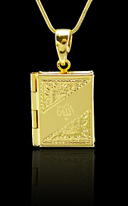 18k ægte gyldne belagte foto box allah muslim islamisk vedhæng