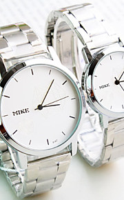 Masculino / Mulheres / Casal Relógio de Moda Quartz Lega Banda Preta / Prata marca-