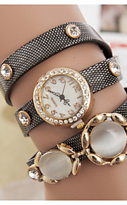 Women's Around The Rope Three Agate Belt Three Circle Winding Retro Bracelet Watch (Assorted Colors)