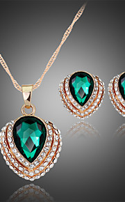 Lucky Doll Crystal / Alloy / Rhinestone / Rose Gold Plated Jewelry Set Necklace/Earrings Party / Daily 1set
