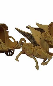 o carrinho de madeira cavalo 3d puzzles DIY brinquedos