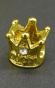 DIY beaded armbånd halskæde tilbehør vakuum belagte mode krone indlagt cz lampwork perler hac0044