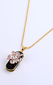16GB Necklace Flower Jewelry USB 2.0 Rotatable Flash Memory Stick Drive U Disk ZP-10 Pink