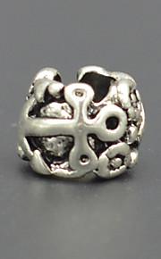 DIY beaded armbånd halskæde tilbehør mode anker sølv plating tyk miskredit stort hul perle hac0055