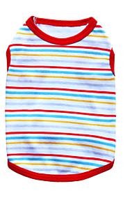 猫用品 / 犬用品 Tシャツ レッド / ブラック / ホワイト / グリーン / ブルー / オレンジ 夏 縞柄 ファッション-Pething®