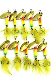 Hengjia 10pcs Spoon Metal Fishing Lures 57mm 3.2g Spinner Baits Random Colors