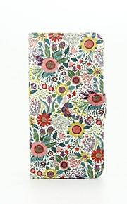 krysantemum indicum mønster pu læderetui med kort slot og står for Samsung Galaxy A310 / A510