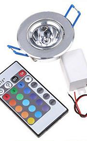hry® 3W rgb fargeendringen ledet innfelt taklampe ned lys + IR-fjernkontroll (85-265V)