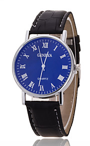 Unisex Wrist Watch Geneva Silver Ring Blue Dial With Roman Scale Quartz Watch PU(Assorted Colors)