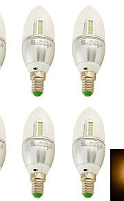 3W E14 LED-lysestakepærer C35 32 SMD 3014 250 lm Varm hvit Dekorativ AC 100-240 / AC 110-130 / AC 85-265 / AC 220-240 V 6 stk.