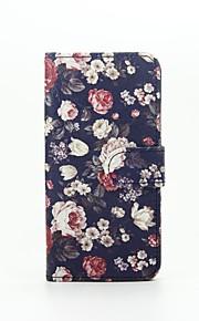 blomstret mønster pu læderetui med kort slot og står for Samsung Galaxy A310 / A510