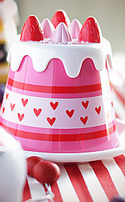 1st 14 * 14 * 10,5 cm GPPS japansk fest jordgubbstårta kopp bricka + cup fack paket