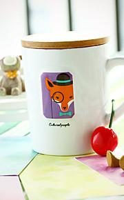 1st 8,5 * 7,4 * 10.3cm kreativa gåvor enkel tecknad keramiska kopp mjölk till frukost, märke kopp med lock