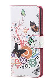 mariposa blanca magnética de la PU de la carpeta de cuero del soporte del tirón de la cubierta del caso Lenny wiko 3