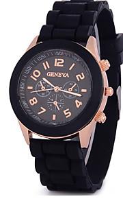 Mulher moda relógios três gel de sílica falso relógios de Genebra analógico de pulso de quartzo