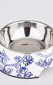Classic Blue and White Procelain Design Pet Bowl for Dogs and Cats