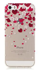TPU Love Pattern Transparent Soft Back Case for iPhone SE 5s 5