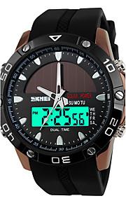 Masculino Assista Quartzo Japonês Relógio EsportivoLCD / Calendário / Impermeável / Dois Fusos Horários / alarme / Solar / Luminoso /