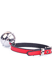Dog Collar Adjustable/Retractable / With Bell Red / Black / Blue / Pink / Yellow / Purple PU Leather