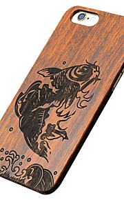 Ultra Thin Wooden Leaping Fish Protective Back Cover Hard iPhone PC Case for iPhone SE/iPhone 5S/iPhone 5