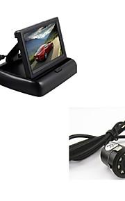 """Car Rear View Backup 8LED Night Vision Camera + 4.3"""" TFT Foldable Display Monitor"""