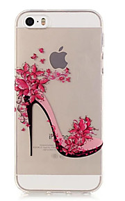 TPU High-Heeled Shoes Pattern Transparent Soft Back Case for iPhone SE 5s 5