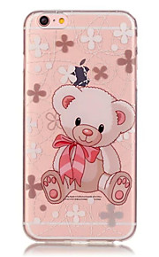 TPU Bear Flower Pattern Transparent Soft Back Case for iPhone 6s 6 Plus