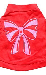 Gatos / Perros Camiseta Rojo Verano Lazo Moda, Dog Clothes / Dog Clothing-Other
