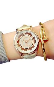Casal Relógio de Moda Quartz Gravação Oca / Relógio Casual PU Banda Preta / Branco / Azul / Vermelho marca