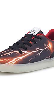Zapatos de mujer-Tacón Plano-Confort / Punta Redonda-Bailarinas-Exterior / Casual-PU-Negro y Rojo