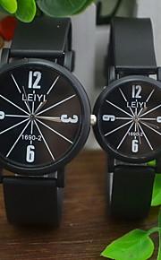 Casal Relógio de Moda Quartz Relógio Casual Borracha Banda Preta marca