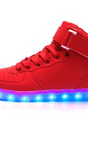 Zapatos de mujer-Tacón Plano-Confort / Punta Redonda / Bailarinas-Bailarinas-Exterior / Casual / Fiesta y Noche-PU-Rojo / Plata / Oro