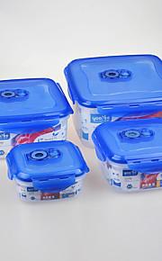 4 pcs Set Square Vacuum Food Storage Containers with Click Locks
