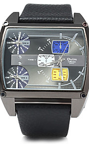 Heren Militair horloge Japanse quartz Drie tijdzones Leer Band Cool Zwart / Bruin Merk