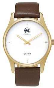 Heren Modieus horloge / Polshorloge Kwarts Waterbestendig / Lichtgevend Echt leer Band Vintage / Vrijetijdsschoenen Bruin Merk