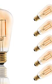 E27 LED Filament Bulbs ST58 COB 180 lm Amber Decorative AC 220-240 V 6 pcs Edison Style Bulb