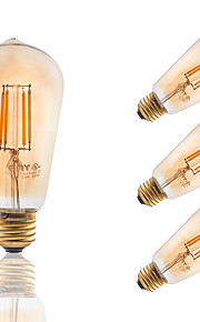 3.5W E26 LED Filament Bulbs ST19 COB 300 lm Amber Dimmable / Decorative AC 110-130 V 4 pcs