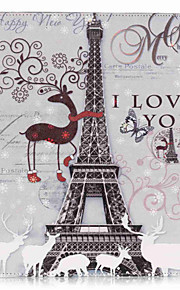 PU Leather Material Tower in Paris Pattern Painted Embossed Tablet Case for iPad Air 2