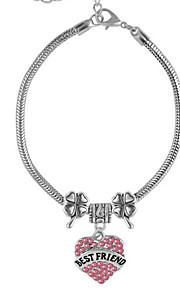 Bracelet Charm Bracelet Silver-Stone Chain Alloy Rhinestone Bestfriend Love Bracelet Adjustable Birthday Gift Jewelry