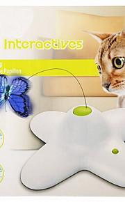 Katzen Haustierspielsachen Interaktives / Teaser Schmetterling / Eletrisch Weiss Plastik