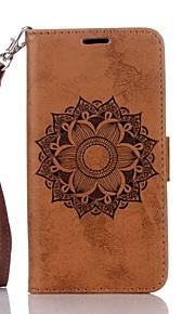 Cuerpo Completo billetera / Soporte de Tarjeta / con el soporte / Con Relieve mandala Cuero Sintético Duro Cubierta del caso paraSamsung