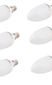 4 E14 LED-lysestakepærer A60(A19) 6 SMD 5730 320 lm Varm hvit Dekorativ AC 85-265 V 6 stk.