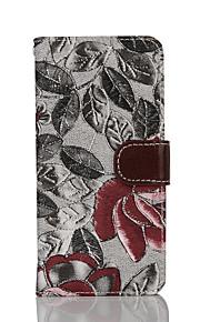 Tuta portafoglio / A portafoglio / con supporto / Capovolgere / A fantasia Fiore decorativo Similpelle Difficile Copertura di caso per