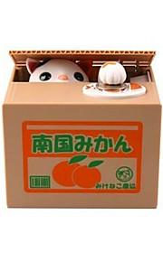 貯金箱 ノベルティおもちゃ 四角形 / ネコ ABS アイボリー / 白 / グレー 男の子のための / 女の子のための