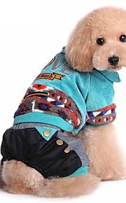 Cães Casacos / Macacão Vermelho / Verde / Azul Roupas para Cães Inverno / Primavera/Outono RiscasDa Moda / Mantenha Quente / Dia Das